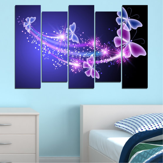 Canvas prints & wall decorative panels - 5 pieces №0687 » Purple, Blue, Black, Gray, Dark grey » Sky, Butterfly, Star Form #3