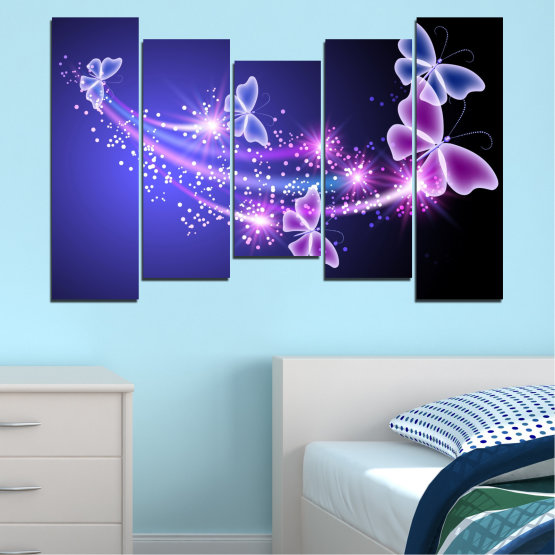 Canvas prints & wall decorative panels - 5 pieces №0687 » Purple, Blue, Black, Gray, Dark grey » Sky, Butterfly, Star Form #4