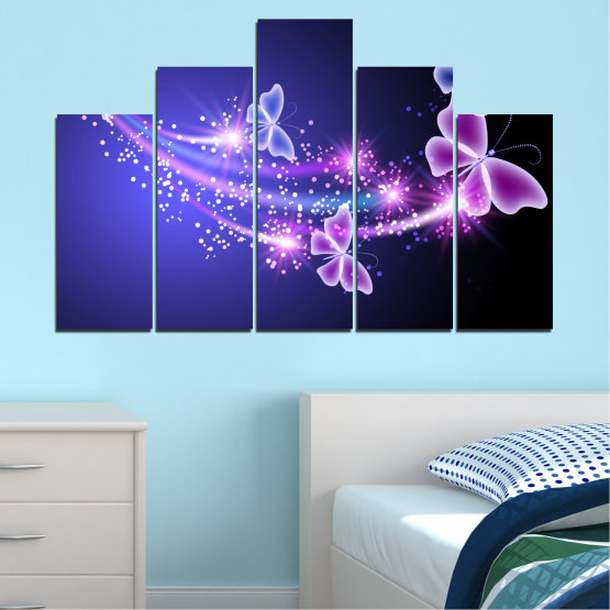 Canvas prints & wall decorative panels - 5 pieces №0687 » Purple, Blue, Black, Gray, Dark grey » Sky, Butterfly, Star Form #5