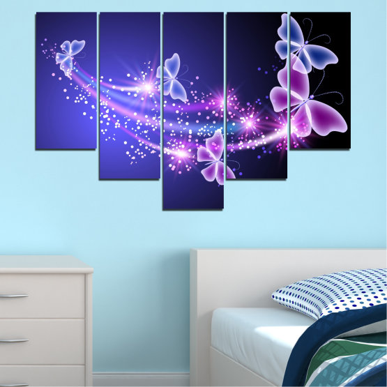 Canvas prints & wall decorative panels - 5 pieces №0687 » Purple, Blue, Black, Gray, Dark grey » Sky, Butterfly, Star Form #6