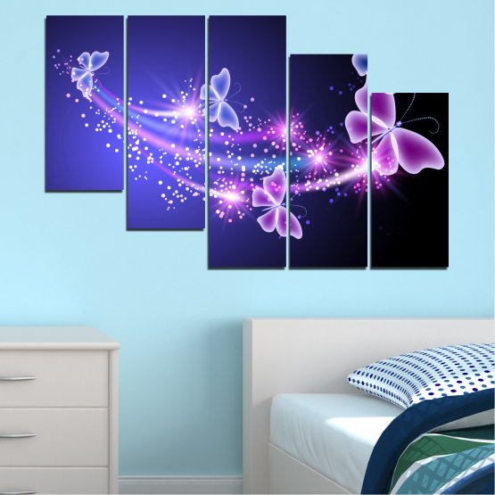 Canvas prints & wall decorative panels - 5 pieces №0687 » Purple, Blue, Black, Gray, Dark grey » Sky, Butterfly, Star Form #7