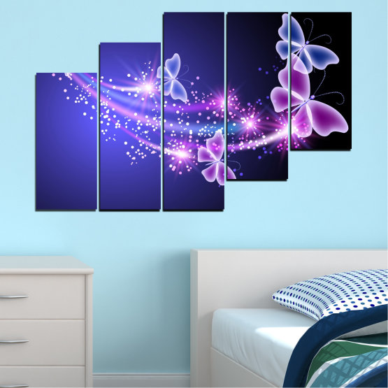 Canvas prints & wall decorative panels - 5 pieces №0687 » Purple, Blue, Black, Gray, Dark grey » Sky, Butterfly, Star Form #8