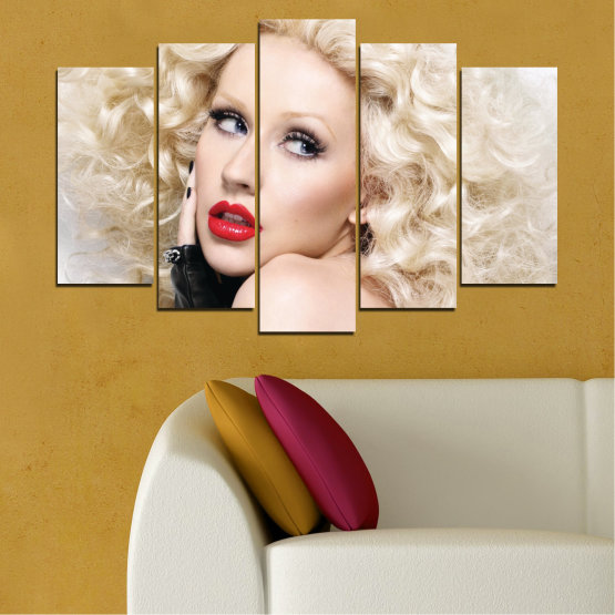 Canvas prints & wall decorative panels - 5 pieces №0688 » Brown, Gray, White, Beige » Woman, Fashion, Portrait, Hair, Christina aguilera, Makeup Form #1