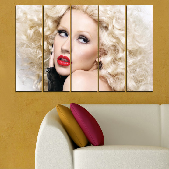 Canvas prints & wall decorative panels - 5 pieces №0688 » Brown, Gray, White, Beige » Woman, Fashion, Portrait, Hair, Christina aguilera, Makeup Form #2