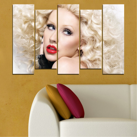 Canvas prints & wall decorative panels - 5 pieces №0688 » Brown, Gray, White, Beige » Woman, Fashion, Portrait, Hair, Christina aguilera, Makeup Form #3
