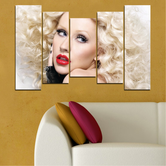 Canvas prints & wall decorative panels - 5 pieces №0688 » Brown, Gray, White, Beige » Woman, Fashion, Portrait, Hair, Christina aguilera, Makeup Form #4