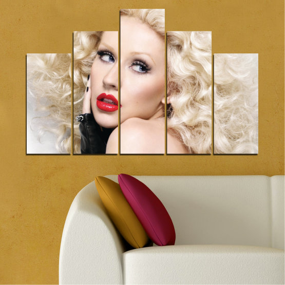 Canvas prints & wall decorative panels - 5 pieces №0688 » Brown, Gray, White, Beige » Woman, Fashion, Portrait, Hair, Christina aguilera, Makeup Form #5
