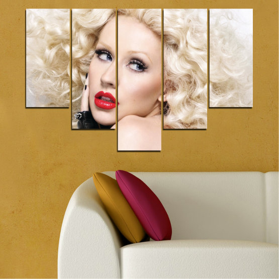 Canvas prints & wall decorative panels - 5 pieces №0688 » Brown, Gray, White, Beige » Woman, Fashion, Portrait, Hair, Christina aguilera, Makeup Form #6