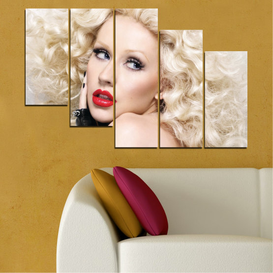Canvas prints & wall decorative panels - 5 pieces №0688 » Brown, Gray, White, Beige » Woman, Fashion, Portrait, Hair, Christina aguilera, Makeup Form #7