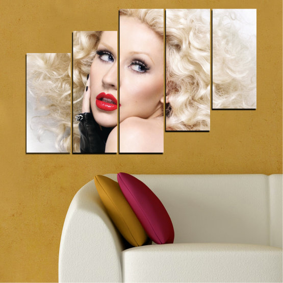 Canvas prints & wall decorative panels - 5 pieces №0688 » Brown, Gray, White, Beige » Woman, Fashion, Portrait, Hair, Christina aguilera, Makeup Form #8