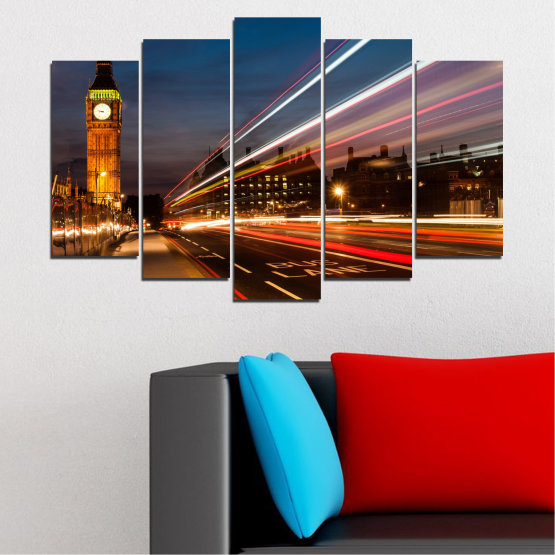 Canvas prints & wall decorative panels - 5 pieces №0069 » Red, Blue, Brown, Black, Gray, Dark grey » City, Landmark, Night, London, Capital, Big ben Form #1