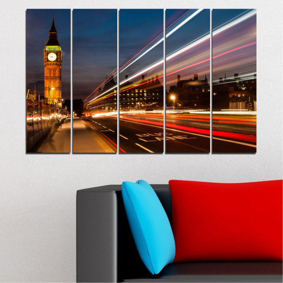 Canvas prints & wall decorative panels - 5 pieces №0069 » Red, Blue, Brown, Black, Gray, Dark grey » City, Landmark, Night, London, Capital, Big ben Form #2
