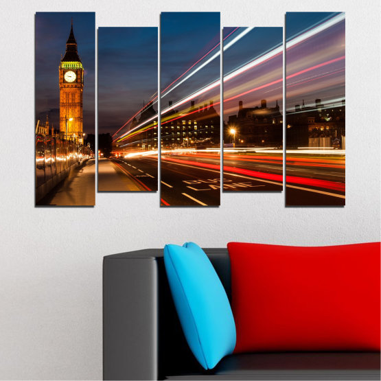 Canvas prints & wall decorative panels - 5 pieces №0069 » Red, Blue, Brown, Black, Gray, Dark grey » City, Landmark, Night, London, Capital, Big ben Form #3