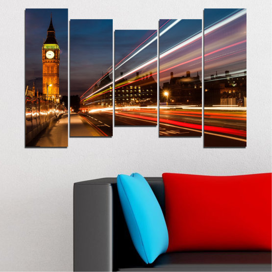 Canvas prints & wall decorative panels - 5 pieces №0069 » Red, Blue, Brown, Black, Gray, Dark grey » City, Landmark, Night, London, Capital, Big ben Form #4