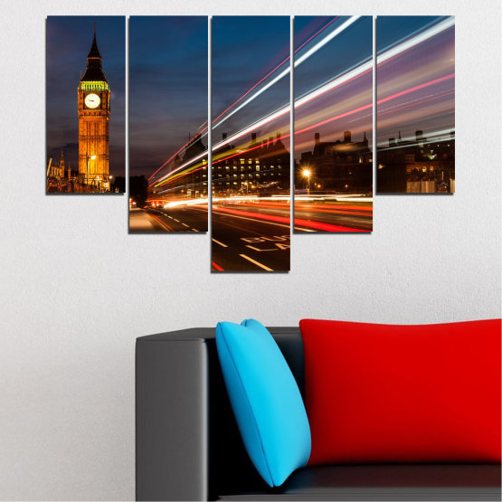 Canvas prints & wall decorative panels - 5 pieces №0069 » Red, Blue, Brown, Black, Gray, Dark grey » City, Landmark, Night, London, Capital, Big ben Form #6