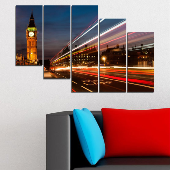 Canvas prints & wall decorative panels - 5 pieces №0069 » Red, Blue, Brown, Black, Gray, Dark grey » City, Landmark, Night, London, Capital, Big ben Form #7