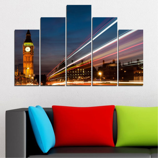 Canvas prints & wall decorative panels - 5 pieces №0069 » Red, Blue, Brown, Black, Gray, Dark grey » City, Landmark, Night, London, Capital, Big ben Form #5