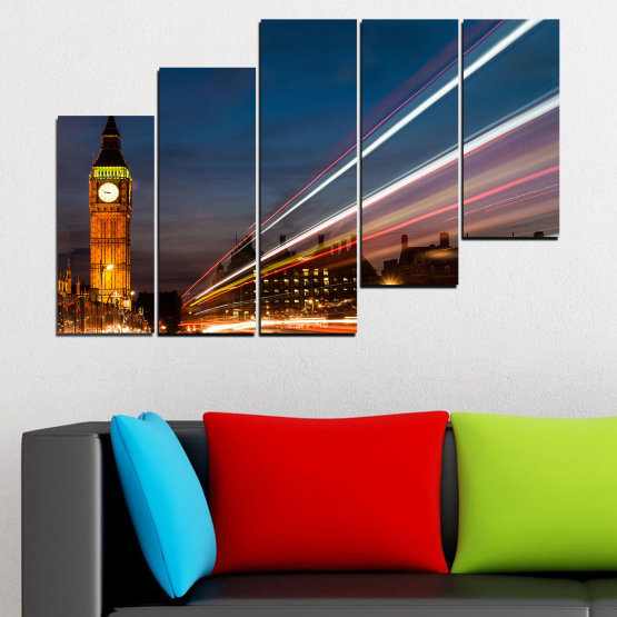 Canvas prints & wall decorative panels - 5 pieces №0069 » Red, Blue, Brown, Black, Gray, Dark grey » City, Landmark, Night, London, Capital, Big ben Form #8