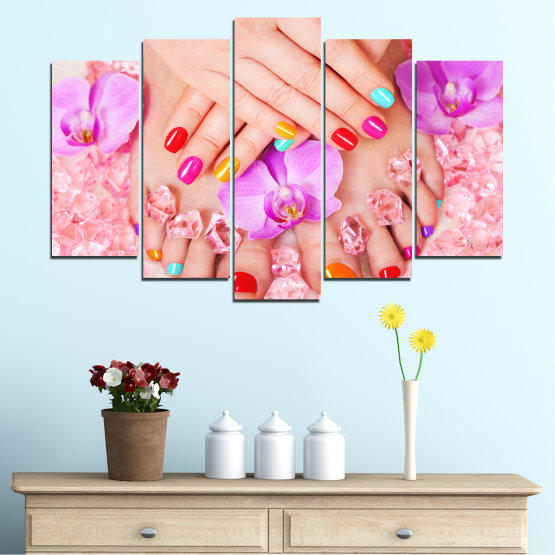 Canvas prints & wall decorative panels - 5 pieces №0692 » Pink, Orange, White, Beige, Milky pink » Orchid, Fashion, Nail Form #1