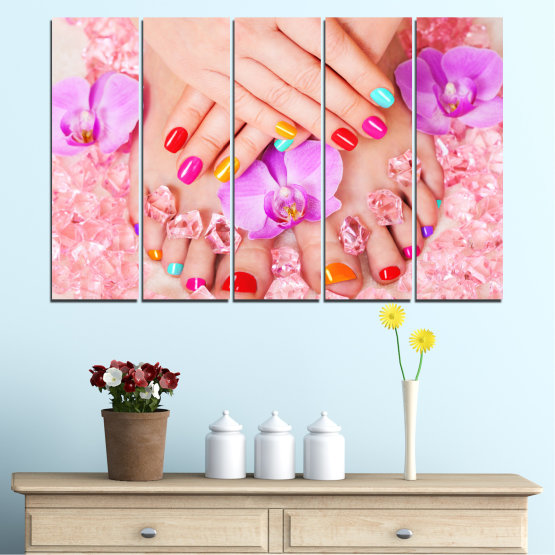 Canvas prints & wall decorative panels - 5 pieces №0692 » Pink, Orange, White, Beige, Milky pink » Orchid, Fashion, Nail Form #2