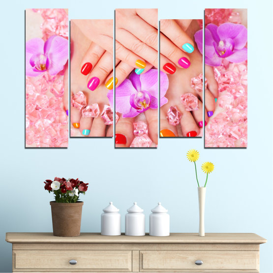Canvas prints & wall decorative panels - 5 pieces №0692 » Pink, Orange, White, Beige, Milky pink » Orchid, Fashion, Nail Form #3