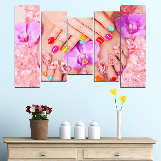 Canvas prints & wall decorative panels - 5 pieces №0692 » Pink, Orange, White, Beige, Milky pink » Orchid, Fashion, Nail Form #4