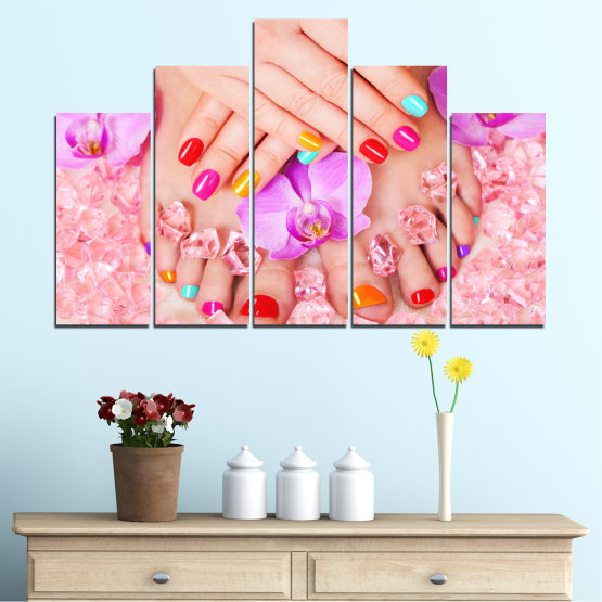Canvas prints & wall decorative panels - 5 pieces №0692 » Pink, Orange, White, Beige, Milky pink » Orchid, Fashion, Nail Form #5