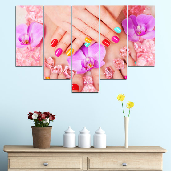 Canvas prints & wall decorative panels - 5 pieces №0692 » Pink, Orange, White, Beige, Milky pink » Orchid, Fashion, Nail Form #6