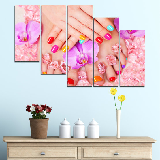 Canvas prints & wall decorative panels - 5 pieces №0692 » Pink, Orange, White, Beige, Milky pink » Orchid, Fashion, Nail Form #7