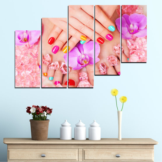 Canvas prints & wall decorative panels - 5 pieces №0692 » Pink, Orange, White, Beige, Milky pink » Orchid, Fashion, Nail Form #8