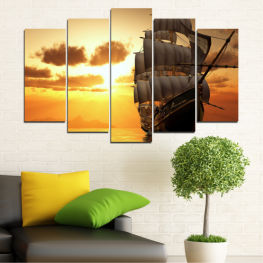 Landscape, Sea, Dawn, Sunset, Water, Ocean, Ship, Sky, Dusk » Yellow, Orange, Brown, Beige