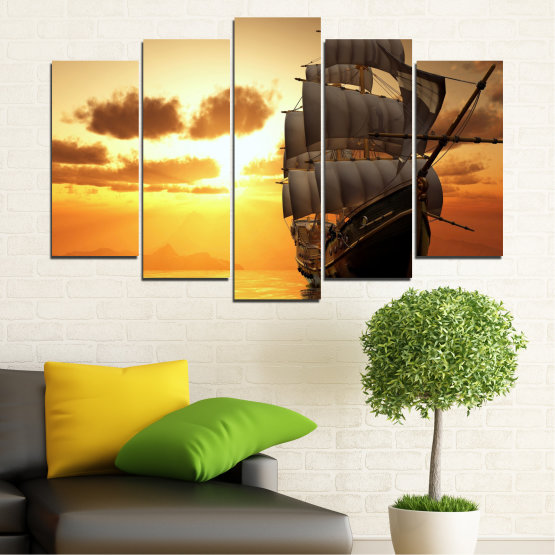 Canvas prints & wall decorative panels - 5 pieces №0693 » Yellow, Orange, Brown, Beige » Landscape, Water, Sea, Dawn, Sunset, Ocean, Sky, Ship, Dusk Form #1