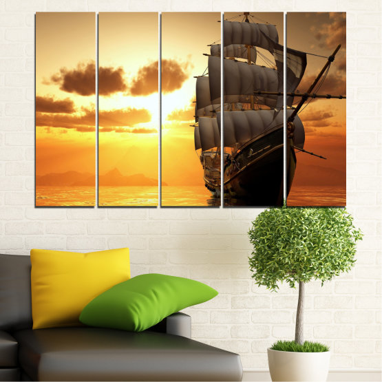 Canvas prints & wall decorative panels - 5 pieces №0693 » Yellow, Orange, Brown, Beige » Landscape, Water, Sea, Dawn, Sunset, Ocean, Sky, Ship, Dusk Form #2