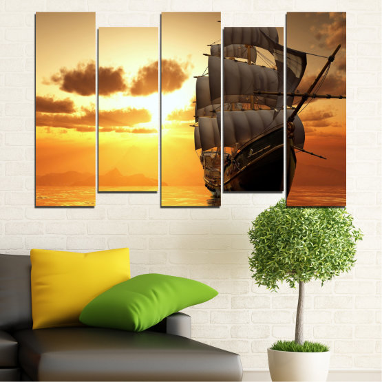 Canvas prints & wall decorative panels - 5 pieces №0693 » Yellow, Orange, Brown, Beige » Landscape, Water, Sea, Dawn, Sunset, Ocean, Sky, Ship, Dusk Form #3
