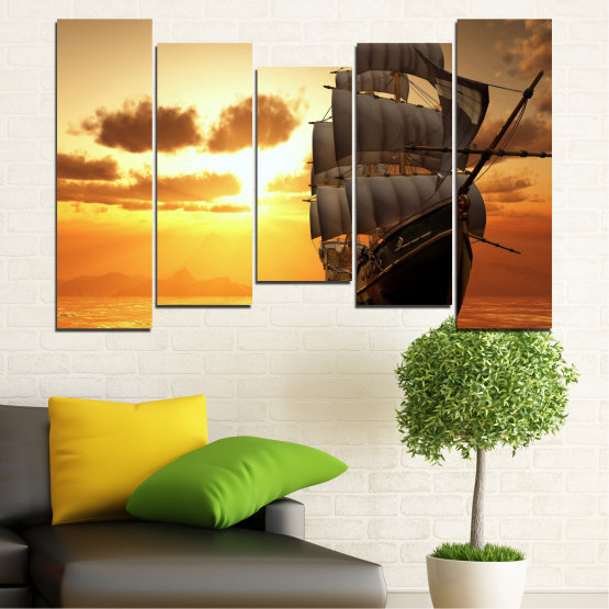Canvas prints & wall decorative panels - 5 pieces №0693 » Yellow, Orange, Brown, Beige » Landscape, Water, Sea, Dawn, Sunset, Ocean, Sky, Ship, Dusk Form #4