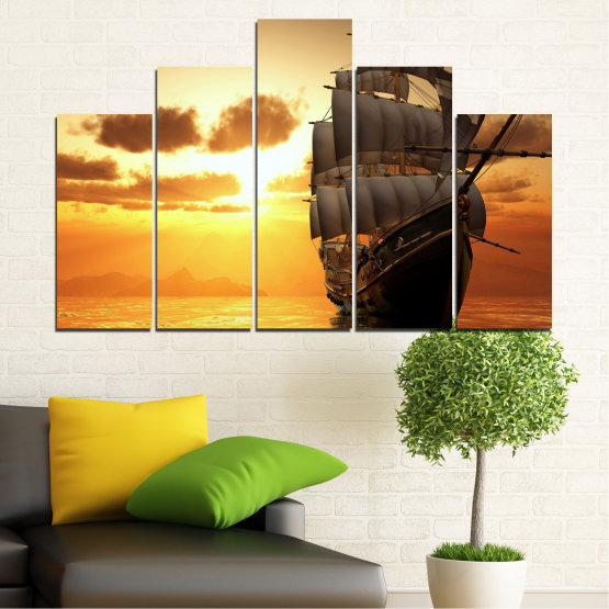 Canvas prints & wall decorative panels - 5 pieces №0693 » Yellow, Orange, Brown, Beige » Landscape, Water, Sea, Dawn, Sunset, Ocean, Sky, Ship, Dusk Form #5