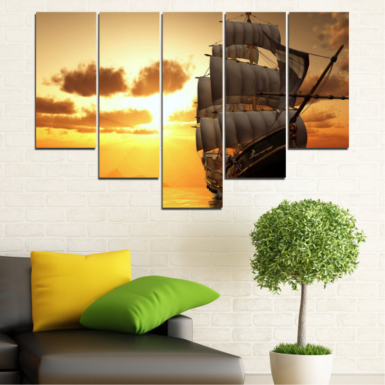 Canvas prints & wall decorative panels - 5 pieces №0693 » Yellow, Orange, Brown, Beige » Landscape, Water, Sea, Dawn, Sunset, Ocean, Sky, Ship, Dusk Form #6