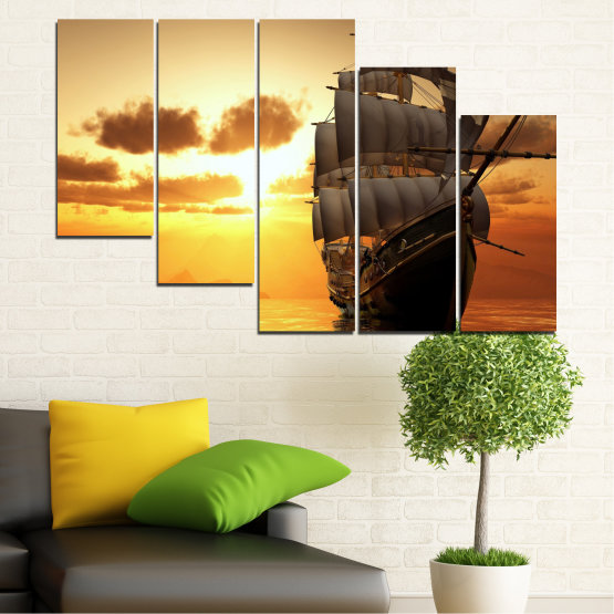 Canvas prints & wall decorative panels - 5 pieces №0693 » Yellow, Orange, Brown, Beige » Landscape, Water, Sea, Dawn, Sunset, Ocean, Sky, Ship, Dusk Form #7
