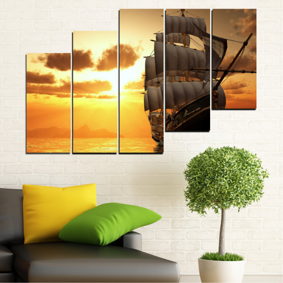 Canvas prints & wall decorative panels - 5 pieces №0693 » Yellow, Orange, Brown, Beige » Landscape, Water, Sea, Dawn, Sunset, Ocean, Sky, Ship, Dusk Form #8