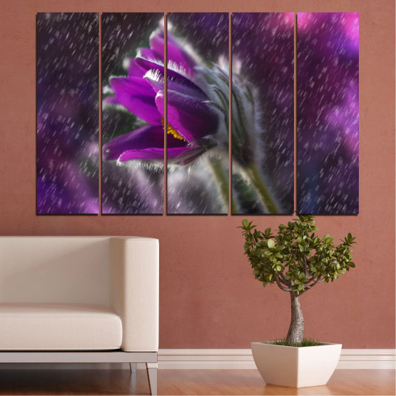 Canvas prints & wall decorative panels - 5 pieces №0694 » Purple, Black, Gray, Dark grey » Flowers, Rain, Spring, Pasque flower Form #2