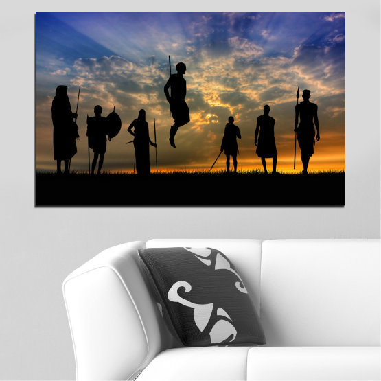 Canvas prints & wall decorative panels - 1 piece №0003 » Brown, Black, Gray, Dark grey » Sunset, Africa, Shadow Form #1