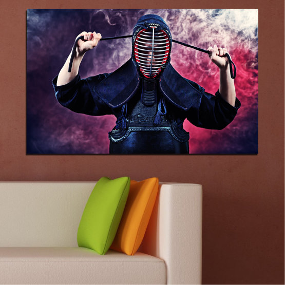 Canvas prints & wall decorative panels - 1 piece №0004 » Black, Gray, Dark grey » Portrait, Sport, Kendo Form #1