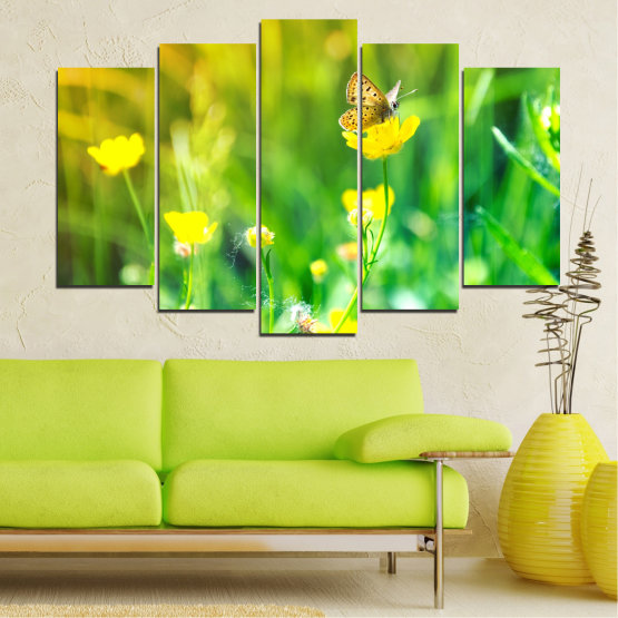 Canvas prints & wall decorative panels - 5 pieces №0007 » Green, Yellow » Nature, Flowers, Butterfly, Meadow Form #1