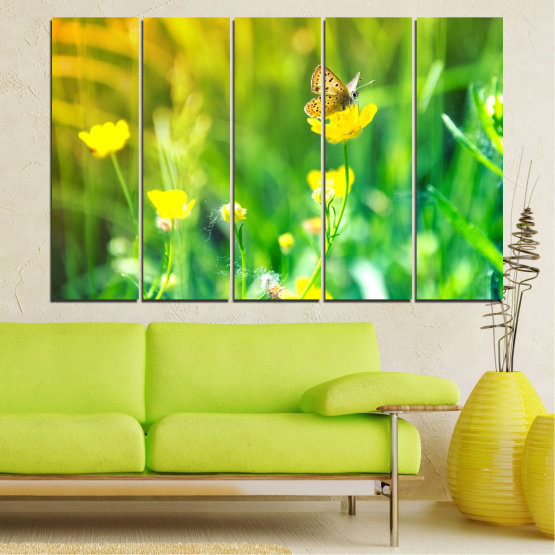Canvas prints & wall decorative panels - 5 pieces №0007 » Green, Yellow » Nature, Flowers, Butterfly, Meadow Form #2