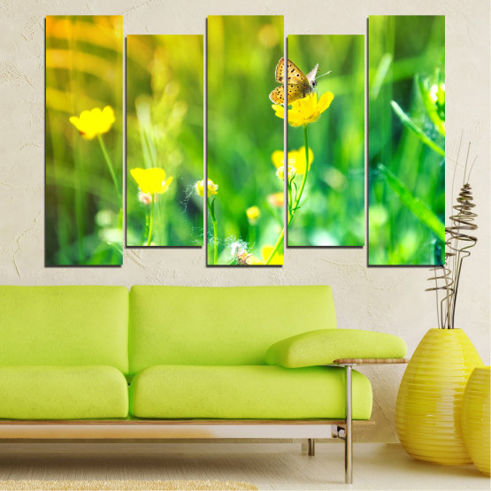 Canvas prints & wall decorative panels - 5 pieces №0007 » Green, Yellow » Nature, Flowers, Butterfly, Meadow Form #3