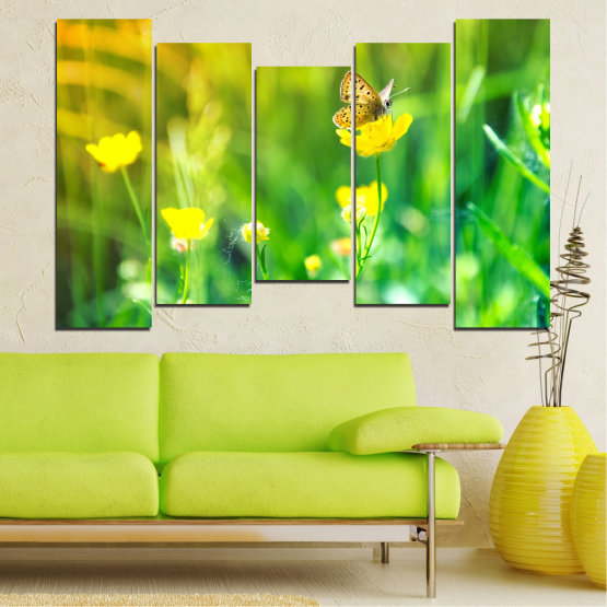 Canvas prints & wall decorative panels - 5 pieces №0007 » Green, Yellow » Nature, Flowers, Butterfly, Meadow Form #4