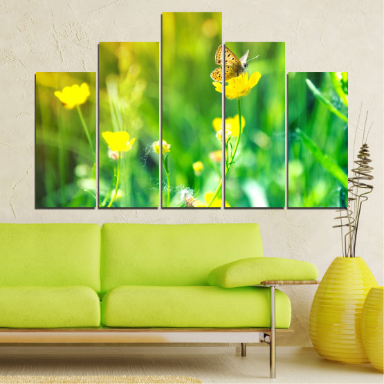 Canvas prints & wall decorative panels - 5 pieces №0007 » Green, Yellow » Nature, Flowers, Butterfly, Meadow Form #5