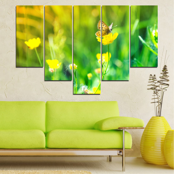 Canvas prints & wall decorative panels - 5 pieces №0007 » Green, Yellow » Nature, Flowers, Butterfly, Meadow Form #6