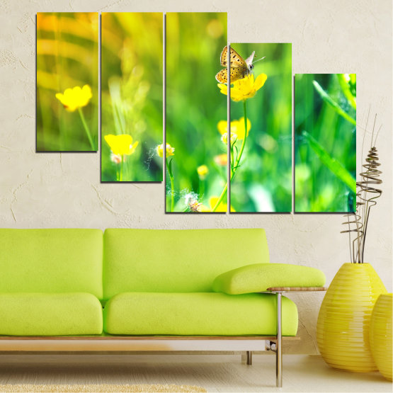 Canvas prints & wall decorative panels - 5 pieces №0007 » Green, Yellow » Nature, Flowers, Butterfly, Meadow Form #7