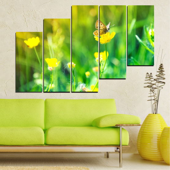 Canvas prints & wall decorative panels - 5 pieces №0007 » Green, Yellow » Nature, Flowers, Butterfly, Meadow Form #8
